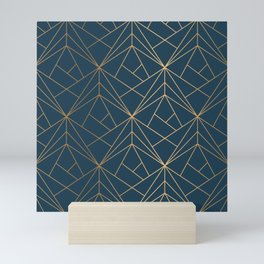 Benjamin Moore Hidden Sapphire Gold Geometric Pattern With White Shimmer Mini Art Print