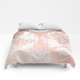 Rose Gold Pink Antique World Map by Nature Magick Comforters