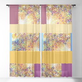 Swirl Amoeba  Patchwork Colorblock Canvas Sheer Curtain