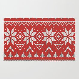 4 Knitted Christmas pattern in retro style pattern Rug