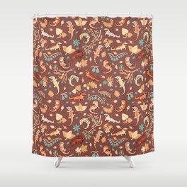 Autumn Geckos in light brown Shower Curtain