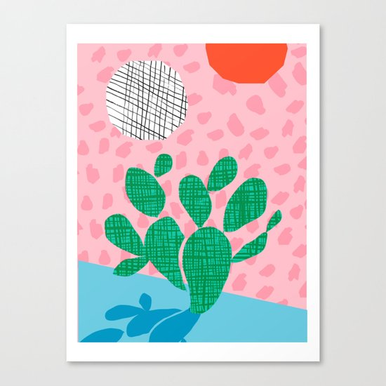 Lampin' - memphis throwback style retro neon cactus desert palm springs california southwest hipster Canvas Print