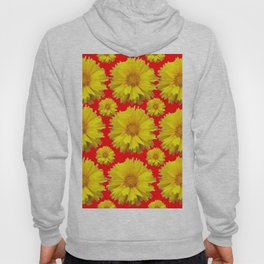 """YELLOW COREOPSIS """"TICK SEED"""" FLOWERS RED PATTERN Hoody"""