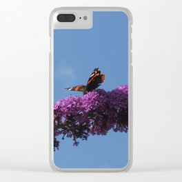 Buterfly and Flowers Clear iPhone Case
