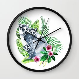Family of lemurs with tropical leaves watercolor Wall Clock