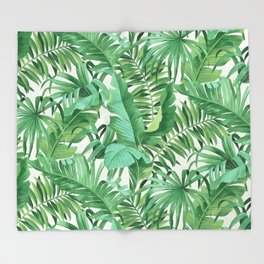 Green tropical leaves III Throw Blanket