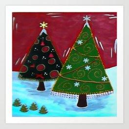 Childrens Naive Christmas Tree Design Art Print