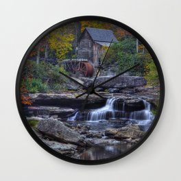 Glade Creek Grist Mill in Autumn Wall Clock