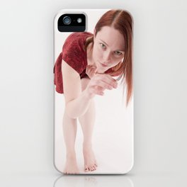 1190s-MM Model Megan in a Little Red Dress Bending Down to See iPhone Case