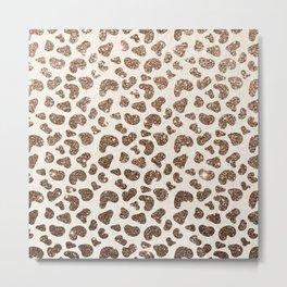 Chic ivory brown glitter gradient animal print pattern Metal Print