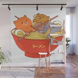 Ramen and cats Wall Mural