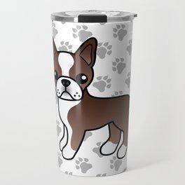 Chocolate Boston Terrier Cute Cartoon Illustration Travel Mug