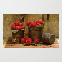 Raspberries in vintage measuring caps Rug