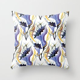 Watercolor Blue Lilac Tropical Orchids Throw Pillow