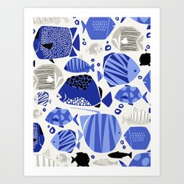blue fishes Art Print