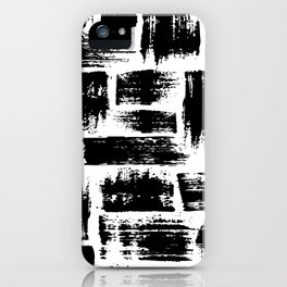 Black brush stripes plaid iPhone Case