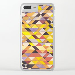 Triangle Pattern No.8 Black and Yellow Clear iPhone Case