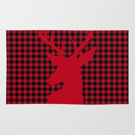 Red Plaid Deer Stag Design Rug