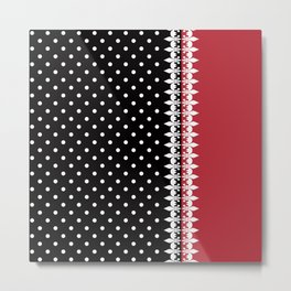 Bright black and red background with a white pattern. Metal Print