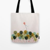 wind Tote Bags featuring Wind by carosurreal