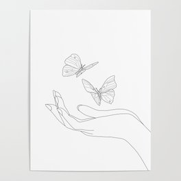 Butterflies on the Palm of the Hand Poster