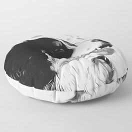 bernese mountain dog vector art black white Floor Pillow