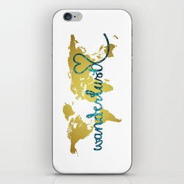 Wanderlust Gold Foil Map with Teal Glitter Text iPhone Skin