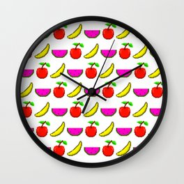 Retro Video Game Fruit Medley Pixel Art Wall Clock