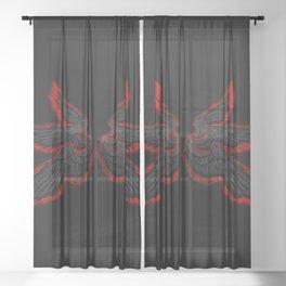 Black Red Archangel Wings Sheer Curtain