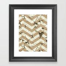 Peeling Chevrons Taupe Framed Art Print