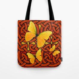 COFFEE BROWN YELLOW BUTTERFLIES CELTIC ART PATTERN  ART Tote Bag