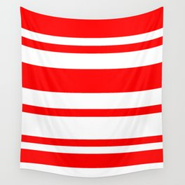 Mixed Horizontal Stripes - White and Red Wall Tapestry