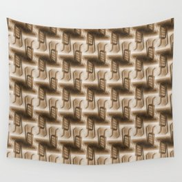 Battery Mishler ladder going nowhere, sepia maze of Ladders pattern Wall Tapestry