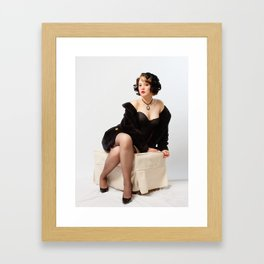 """Fur Coat #1"" - The Playful Pinup - Sexy Vintage Pinup in Fur Coat by Maxwell H. Johnson Framed Art Print"