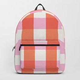 lavender orange plaid gingham Backpack