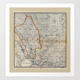 Map of Napa & Solano Counties California (1908) Art Print