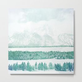 tree line mint green aesthetic landscape art altered photography Metal Print