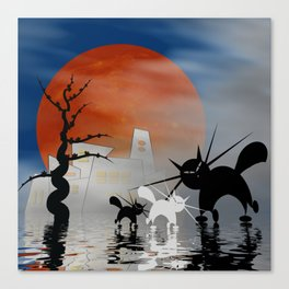 mooncats and their city Canvas Print