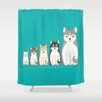 husky Shower Curtains featuring Matryoshka Husky by korpannita