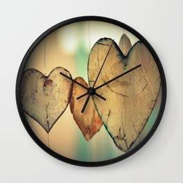 Vintage Boho Chic Bokeh Hearts Wind Chimes Wall Clock