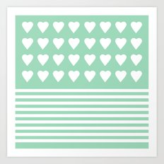 Heart Stripes Mint Art Print