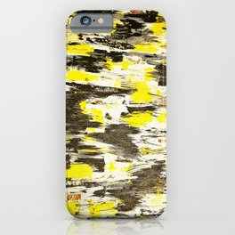 """Contemporary abstract yellow and black acrylic painting   """"Manifest"""" iPhone Case"""