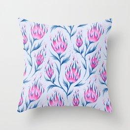 Fire Flower - Light Pink Throw Pillow