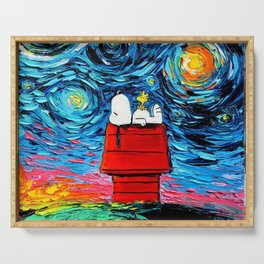snoopy peanuts starry night Serving Tray