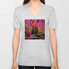 Exotic, Lush Passionate Pink and Green Leaves Unisex V-Neck