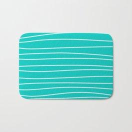 Turquoise Brush Stroke Lines Bath Mat