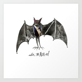 Halloween Welcome to the Ball Vampire Bat Greeting Card Art Print