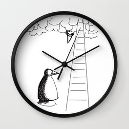 Metaphysical Penguin Waiting for You Wall Clock