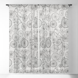 Monochrome Vintage Bicycles of Soft Grey Sheer Curtain