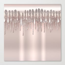 Icy Pink Rose Gold Diamond Dust Glitter Drips Canvas Print